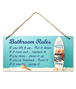 Beach Bathroom Decor, 12″x6″ PVC Plastic Wall Decoration Hanging Sign, Water and Humidity Proof, Bathroom Rules, Seashell Bathroom Decor, Beach Bathroom Decor and Accessories, Surfboard …