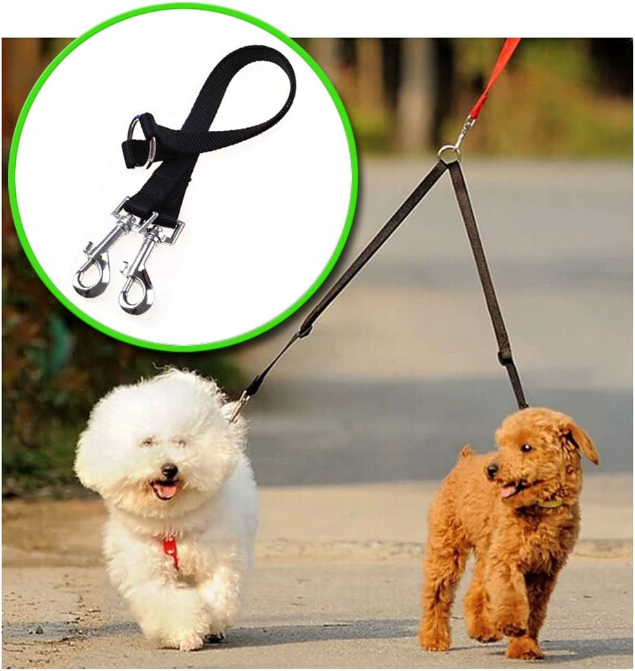 2 x Bungee Dog Walking Coupler for Two Dogs on one Lead.