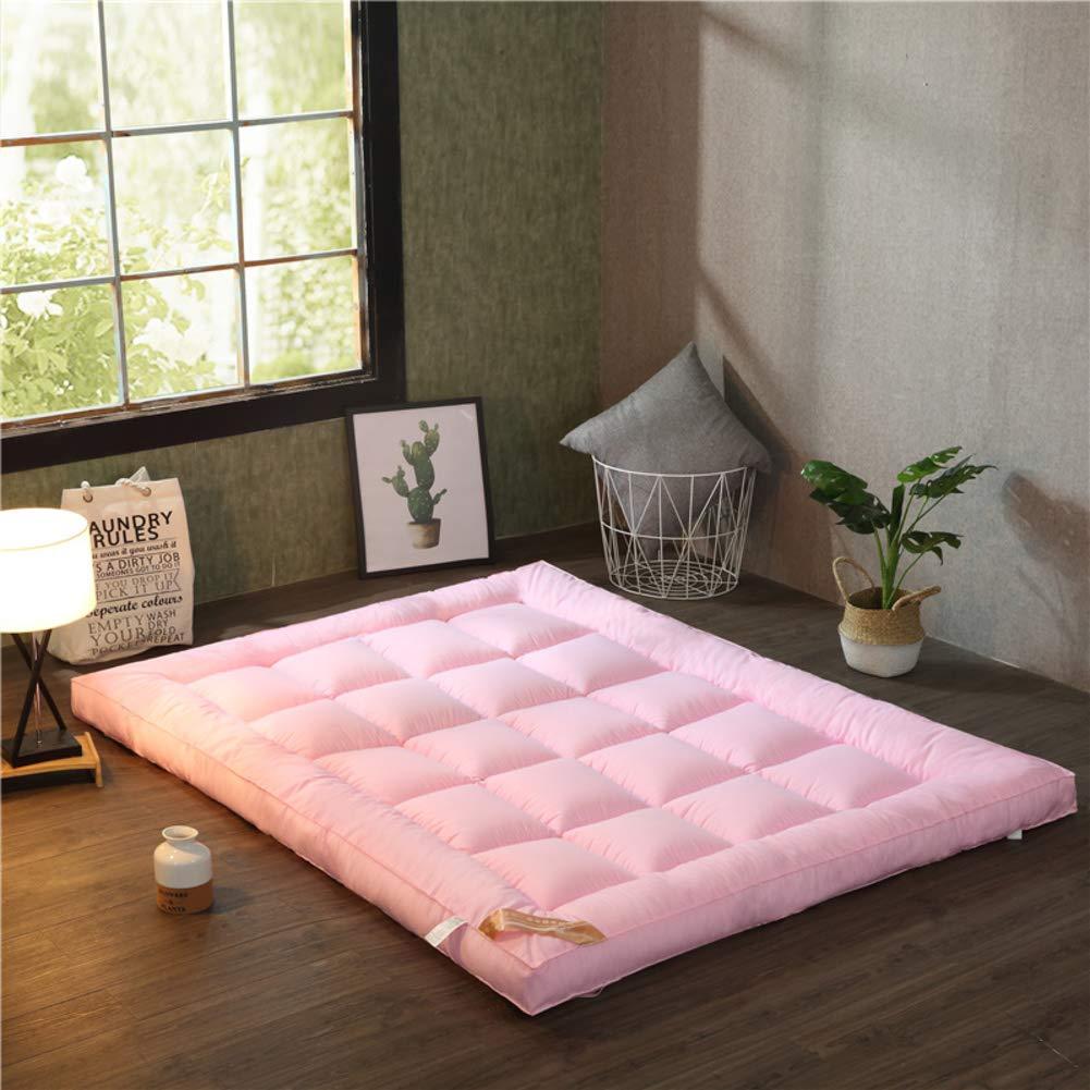 Pink 180x200cm(71x79inch) Fluffy Thicken Mattress, Soft Tatami futon, Antibacterial Anti-mite Microfibre Sleeping pad Queen Breathable Mattress Predector-Navy bluee 100x200cm(39x79inch)