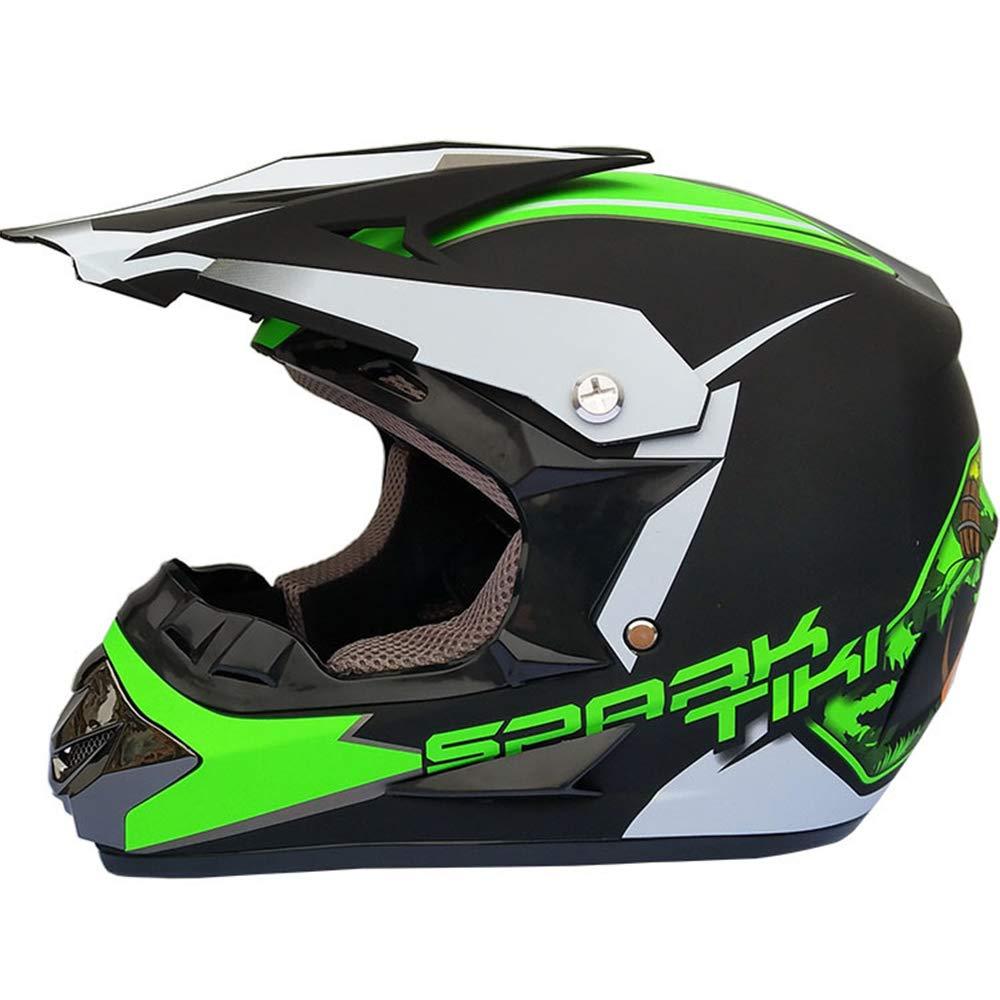 HGOOD-KK Casque de Motocross pour Adulte avec Gloves et Masques Lunette ,Green,M Ensemble de 4 pi/èces