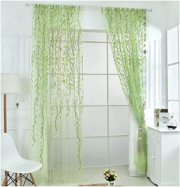 Rely2016 2 Pieces Green Color Willow Voile Tulle Room Window Curtain Salix Leaf Sheer Voile Panel Drapes Curtain (100 x 270cm)