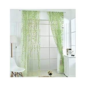Rely2016 2 Pieces Green Color Willow Voile Tulle Room Window Curtain Salix Leaf Sheer Voile Panel Drapes Curtain (100 x 200cm)