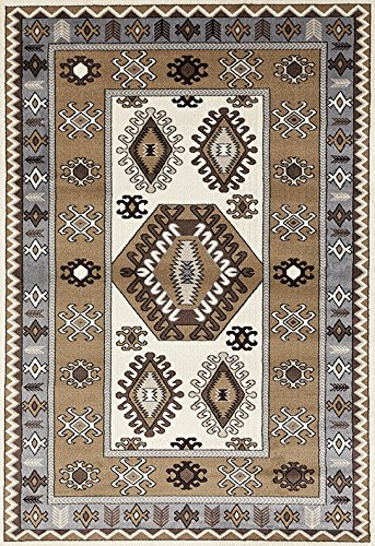 ADGO Medeo Collection Modern Ethnic Anatolian Kilim Motifs Bohemian Geometric Live Multicolor Design Jute Backed Turkish Area Rugs High Pile Well Spaced Soft Indoor Floor Rug,Tan Grey, 3 7 x 5 7