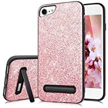 iPhone 6 Case,iPhone 6S Case,Fingic Glitter Slim Case for Girls Women[Built-in Invisible Car Magnetism&with Metal Stand] TPU+PC Case Cover for iPhone 6/6S,Rose Gold