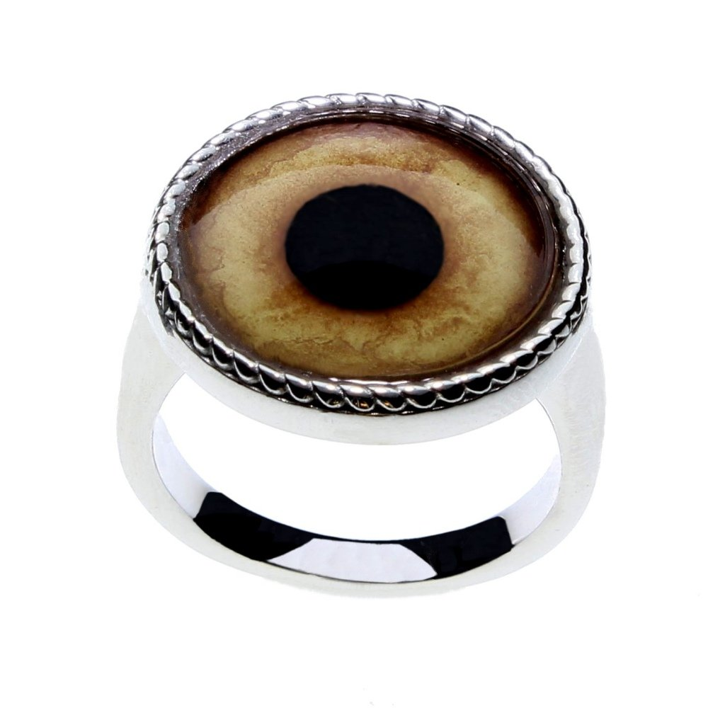 Men or Women's Wolf Glass Eye Statement Ring by Steel Dragon Custom Jewelry(Wolf, 10)