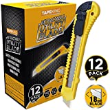Tape King Utility Knife Box Cutters (12-Pack Bulk, 18mm Wide Blade Cutter) - Retractable, Compact, Extended Use for Heavy Duty Office, Home, Arts Crafts, Hobby for Cutting Boxes, Cartons, Cardboard