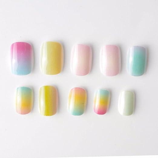 Amazon.com : Style Gradient Color Rainbow Kits False Nails 20 Pcs Pre-Glue Press On Fake Nails Tips For Kits Little Girls Gradient Color Style : Beauty