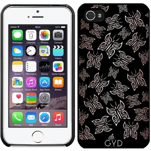 Coque pour Iphone 5/5S - Papillons Or Rose Noire by Nina Baydur