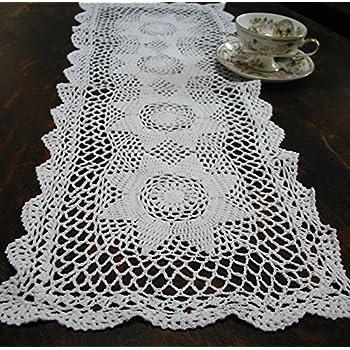 Amazon.com: 100% algodón hecho a mano mesa Crochet Camino de ...