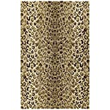 3' x 5' Gold Faux Cheetah Pelt Spot Area Rug, Wool Contemporary Country Transitional Multi Color Novelty Shag Africa Animalistic Wild Lively Animal Safari, Indoor Living Room Accent Carpet