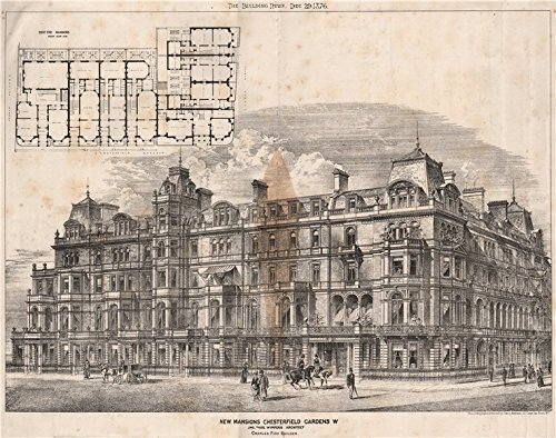 New Mansions, Chesterfield Gardens; W. Jno. Thos, Wimperis Architect - 1876 - old print - antique print - vintage print - London art prints
