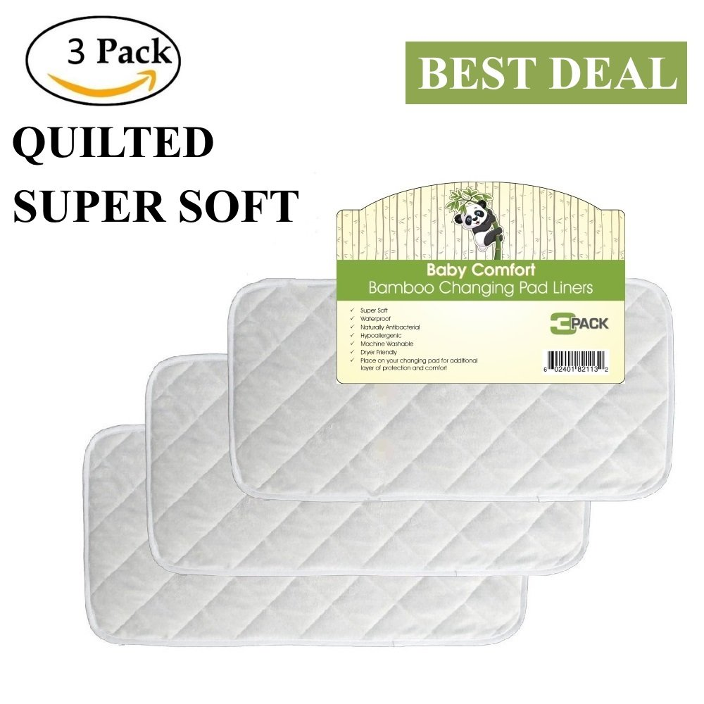 Quality Bamboo Changing Pad Liners, Large 26'' x 12.5'', Waterproof, Hypoallergenic, Antibacterial, Reusable, Quilted, Machine Washable & Dryer Friendly, 3 Pack by BABY COMFORT