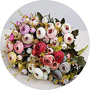 Get-in 10heads/1 Bundle Silk Tea Roses Bride Bouquet for Christmas Home Wedding New Year Decoration Artificial Plants Artificial Flowers 48
