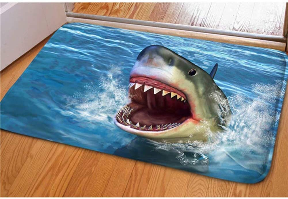 Dellukee Indoor Outdoor Doormats Cute Shark Printed Non Slip Durable Washable Funny Home Decorative Door Mats Bath Rugs for Entrance Bedroom Bathroom Kitchen, 23 x 16 Inches
