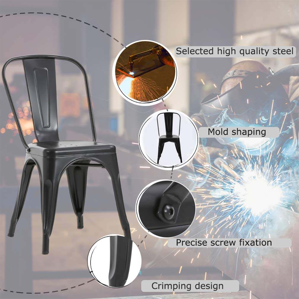 Chairs Metal Stackable Kitchen Dining Chair 18'' Seat Height Indoor/Outdoor Metal Side Bar Chairs Trattoria Chair Set of 4 by FDW (Image #5)