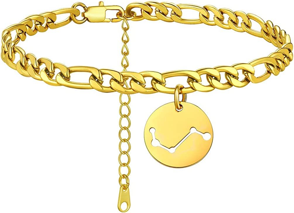 """PROSTEEL Figaro Chain Zodiac Anklet for Women Men, 18K Gold Plated Stainless Steel Custom Name Anklet, 8.5""""-10.5"""" Adjustable(with Extension), Come Gift Box"""
