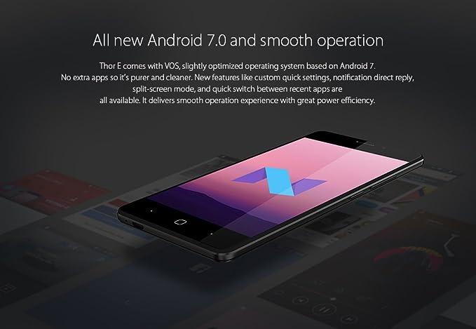 Vernee Thor E - Android 7.0 5020mAh Batería 4G Smartphone Cuerpo de Metal Completo, 8.2mm Slim & 149g de luz, Octa Core 3GB RAM + 16GB, 30min de Carga rápida, GPS de