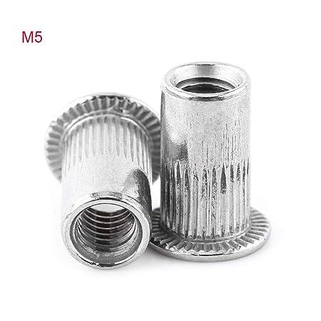 100pcs M4-M8 Flat Head Metric Threaded Blind Rivet Nut Rivnut Nutsert Screw Tool