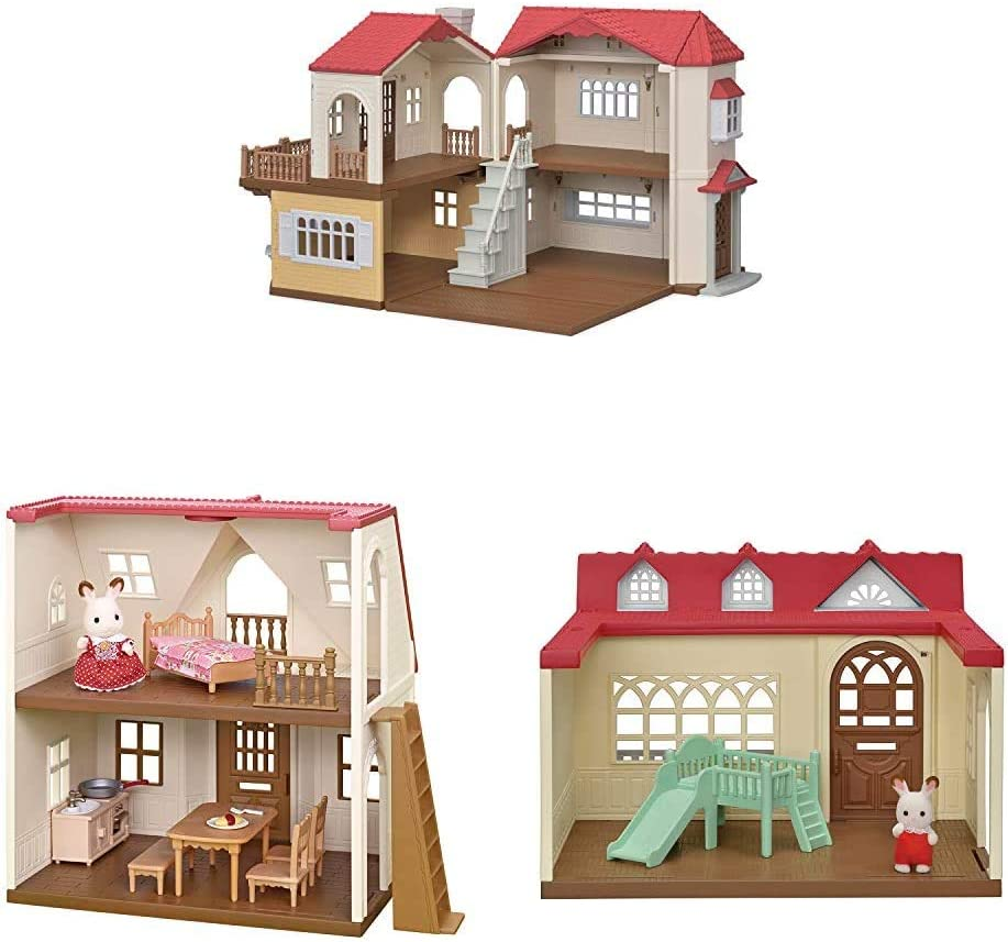 Calico Critters Red Roof Mansion, Dollhouse Playset Featuring 3 Unique Homes, Figures and Furniture
