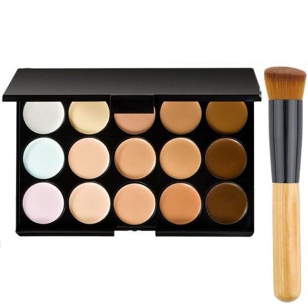 Gracefulvara 15 Colors Concealer Palette kit with Brush Face Makeup Contour Cream