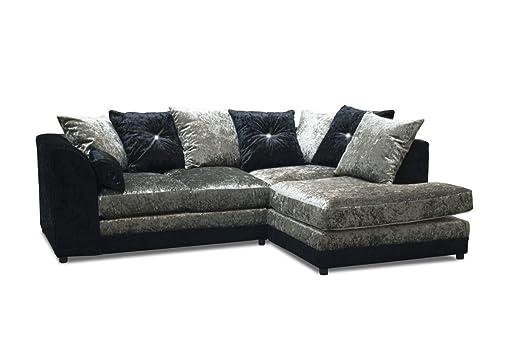 Glamour Negro/Plata Mano Derecha sofá de Esquina, Tela ...