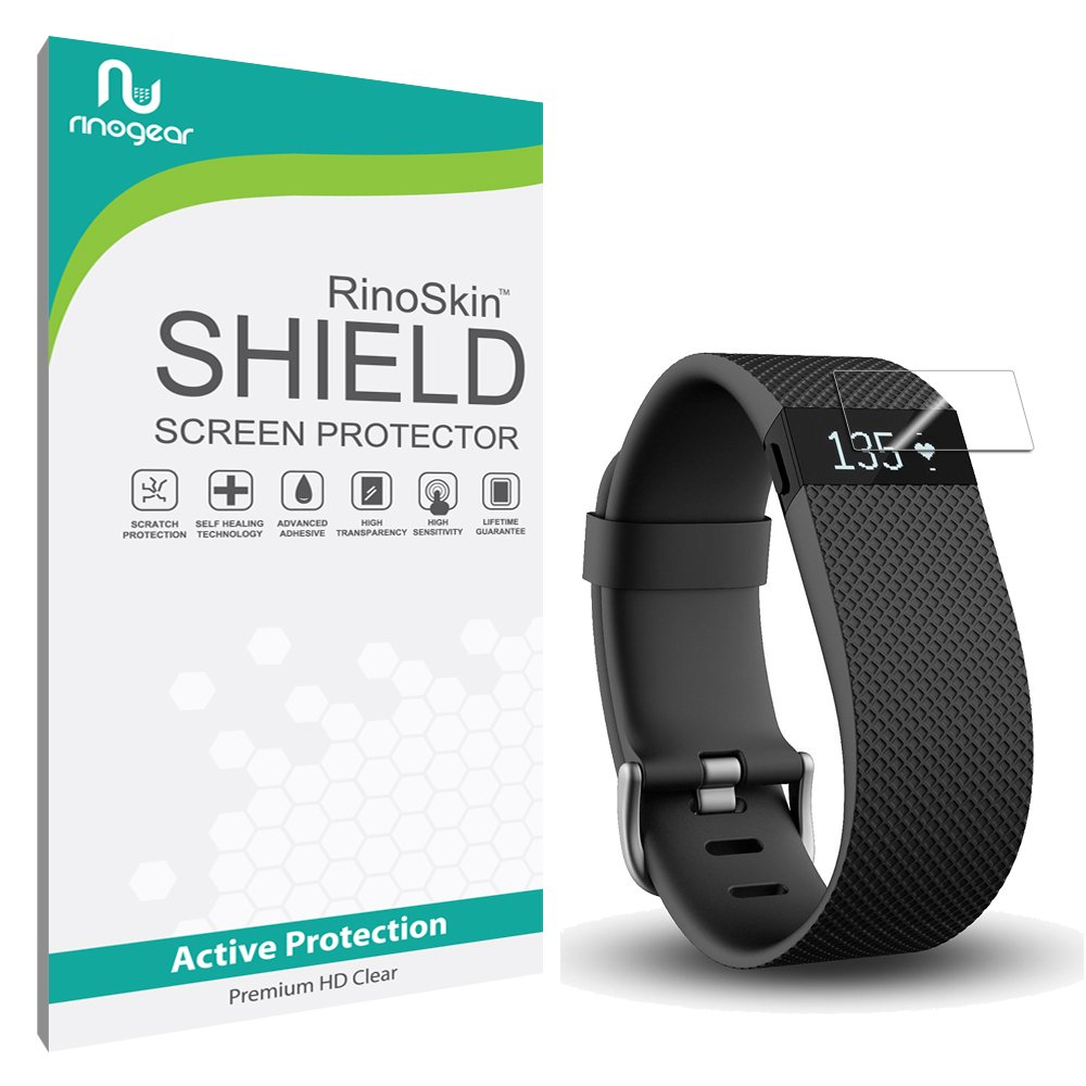 [10-PACK] Fitbit Charge / Charge HR Screen Protector [Military-Grade] RinoGear Premium HD Invisible Clear Shield Anti-Bubble
