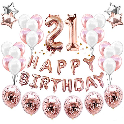 HankRobot 21th Birthday Decorations Party Suppies(38pack)Rose Golden Number 21 Birthday Balloons Happy Birthday Balloon Banner Golden Rose Confetti Balloons Perfect Birthday Decorations for Her