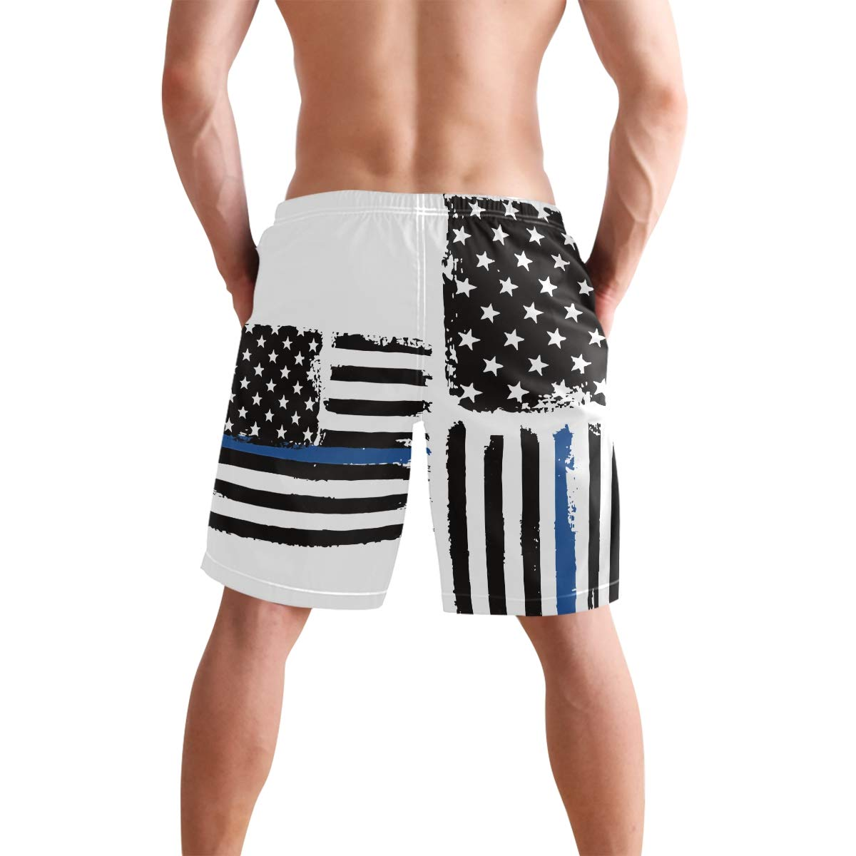 DongDongQiang Men Summer Police Thin Blue Line Flag Quick Dry Volleyball Beach Shorts Board Shorts