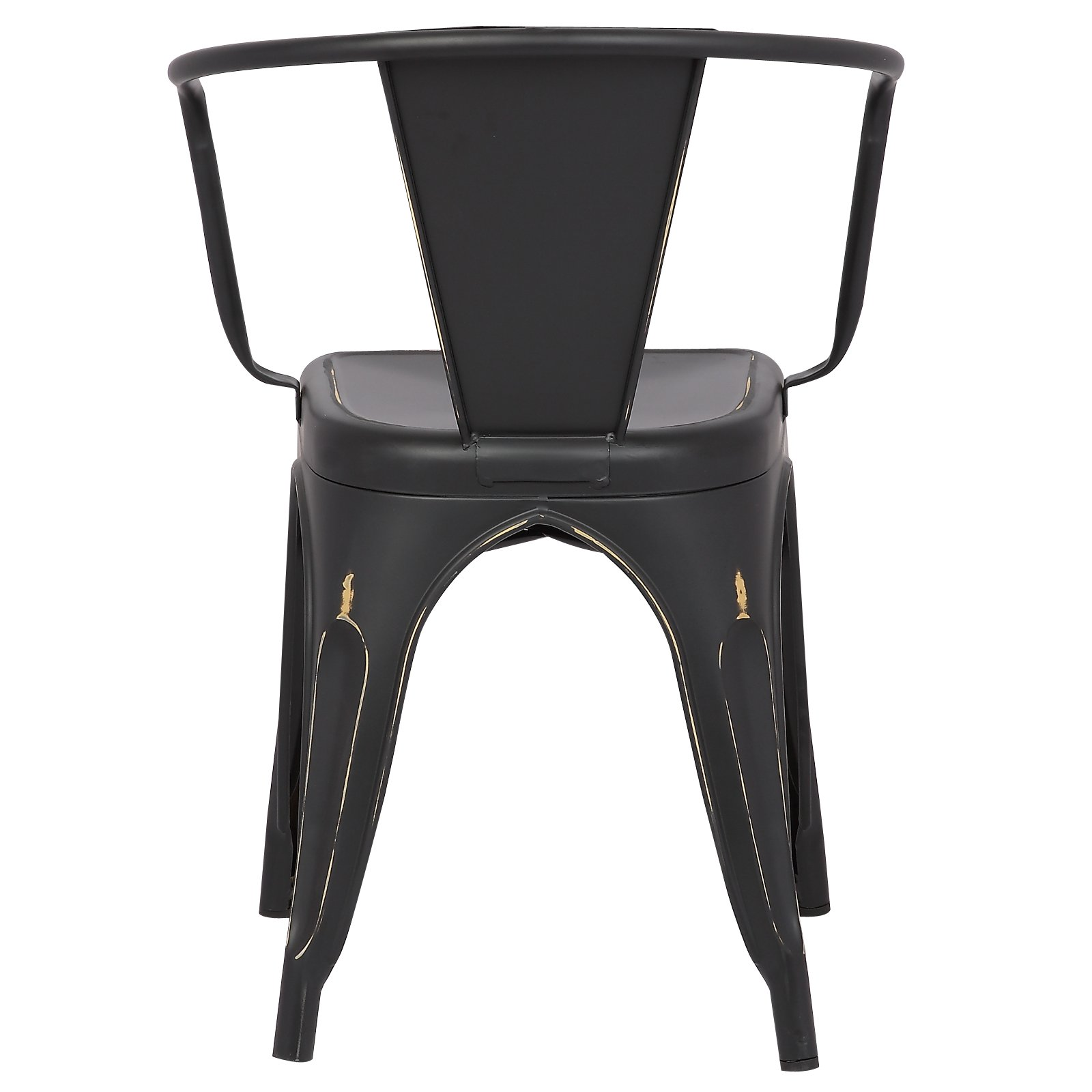 Poly and Bark Trattoria Arm Chair in Distressed Black (Set of 2)