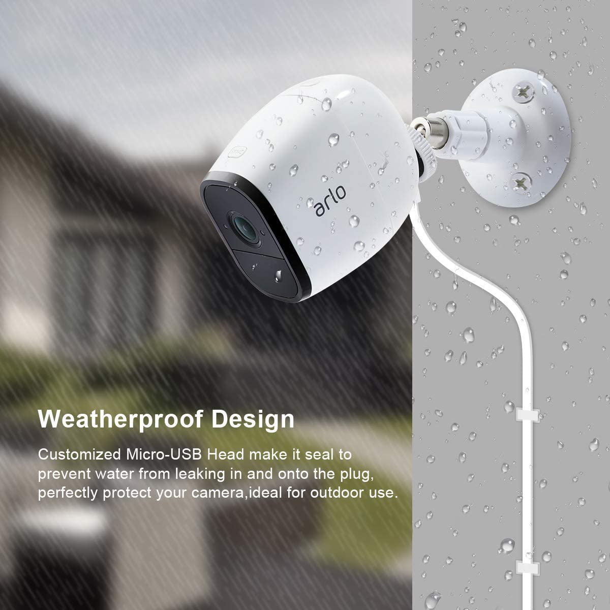 White LANMU 26ft Weatherproof Outdoor Flat Power Cable for NETGEAR Arlo Pro,Arlo Pro 2,Arlo Go and Arlo Security Light,Micro USB Charging Cord Compatible with Arlo Pro Camera with Wire Clips