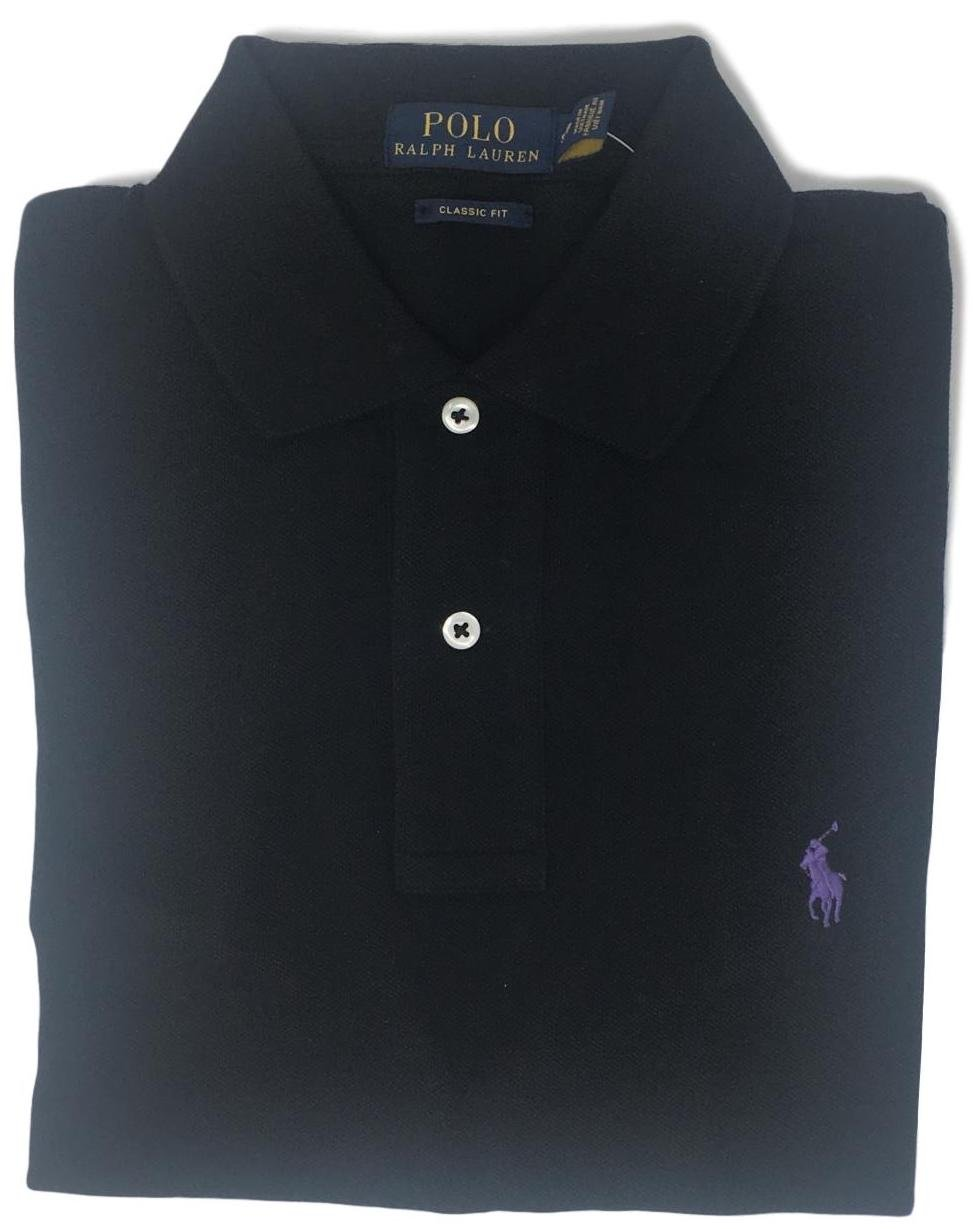 Polo Ralph Lauren Classic Fit Mesh Pony Logo Polo Shirt (XS, Black Purple Pony)