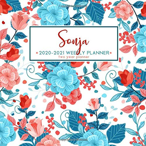 Sonja 2020   2021 Weekly Planner   Two Year Planner  Personalized Name Planner Floral Print Calendar