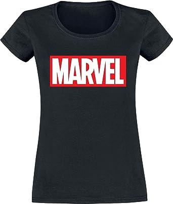 Marvel Logo Mujer Camiseta Negro, Regular: Amazon.es: Ropa y accesorios