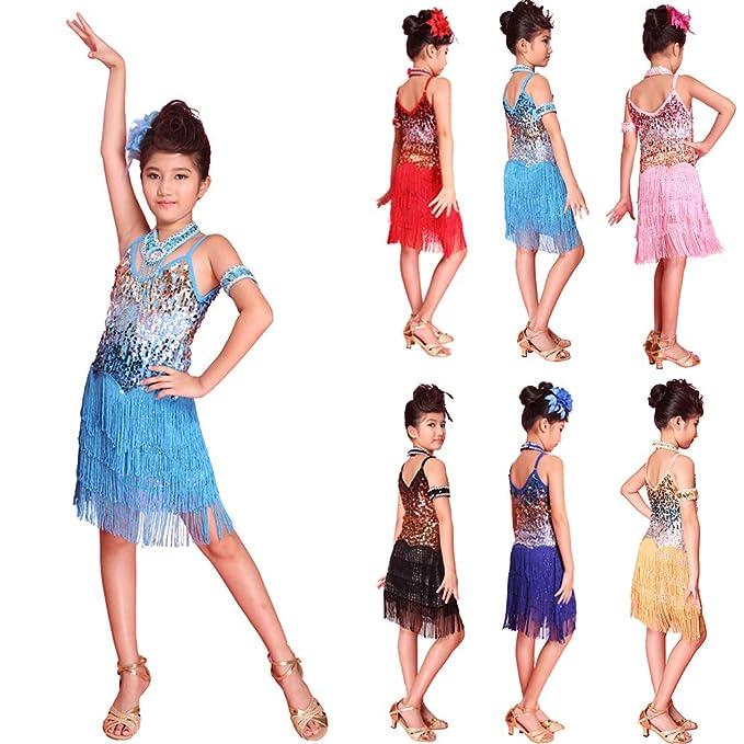 Vestido De Baile Latino con Lentejuelas para Niños Vestido ...