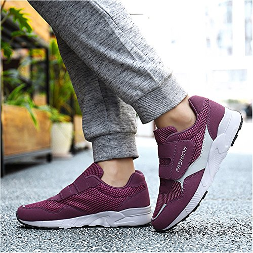 Shoe Non Elderly amp; Safety Comfort Show Hook Slip Loop Sneakers Casual Women's Walking Leader Flats Purple wYzaCqnn