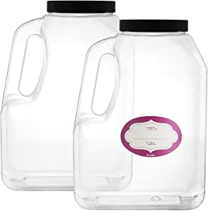 2 Pack - Clear Square Plastic Empty Storage Containers - Jars w/Plastic Airtight Lids - Empty Jugs with Handles - Wide Mouth Easy Clean - Great For Commercial & Industrial Use (2 Pack 1 Gallon)