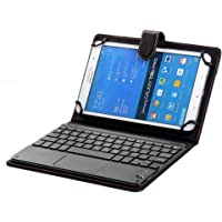 Generic Bluetooth TrackPad PU Leather Keyboard Cover for Samsung Galaxy Tab T561/S2/S3, Lenovo Yoga 3 10/4 10/4 10 Plus (Black)
