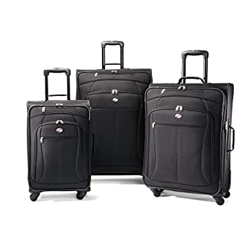 Amazon.com   American Tourister Luggage AT Pop 3 Piece Spinner Set, Black,  29 25 21   Luggage Sets 88099abdfe