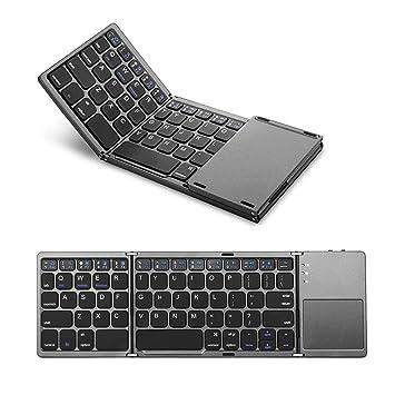 【タイムセール】Ewin 折りたたみ式 Bluetoothキーボード タッチパッド搭載 超薄い型 ミニキーボードWindows、Android、iOS 、Mac、各OSに対応 ブラック EW-RW21【日本語説明書と18ヶ月保証付き】