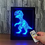 Ornerx 3D Illusion Lamp Photo Frame LED Night Light Dinosaur