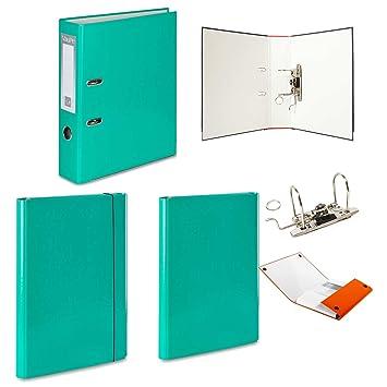 1 x turquesa - Archivador de palanca + 2 duro carpetas - 1 velcro banda de goma + 1 - 15 colores documento oficina: Amazon.es: Oficina y papelería