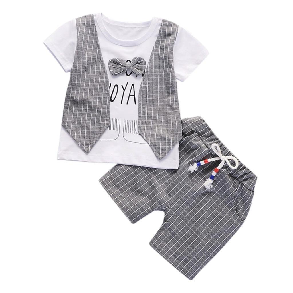Morwind ☀Completino Bimbo☀Bambino Bimbi Bimbo Pantaloni 6 Mesi Estate Lettera Stampa Bow Plaid Cime + Pantaloni Abiti Set Newborn Outfits Vestiti Set Per Baby 6-24Mesi
