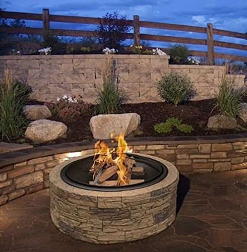Cheap Cast Stone Wood Burning Fire Pit 35″ Diameter Steel Base By Huntington Cove w/ 26″ Mesh Screen Spark Protector w/ Lift Hook, Large Heat Resistant Fire Bowl, Appealing Medium Brown Simulated Stone Base