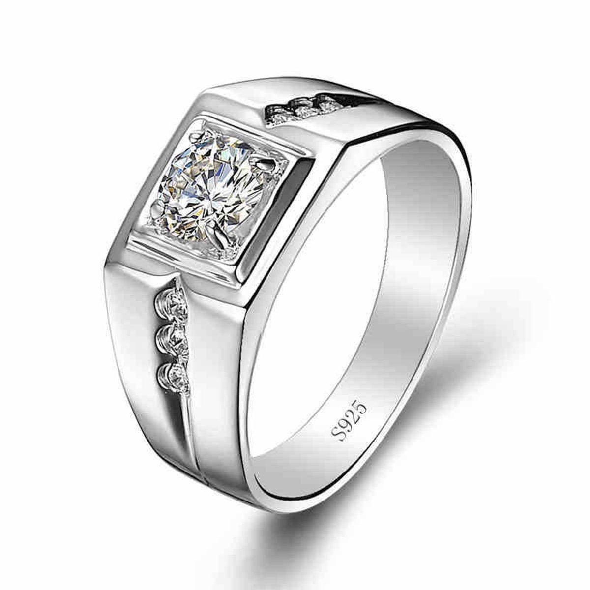 Guirui Jewelry Hommes Rétro Rainure Argent 925 Oxyde de Zirconium Large Bague