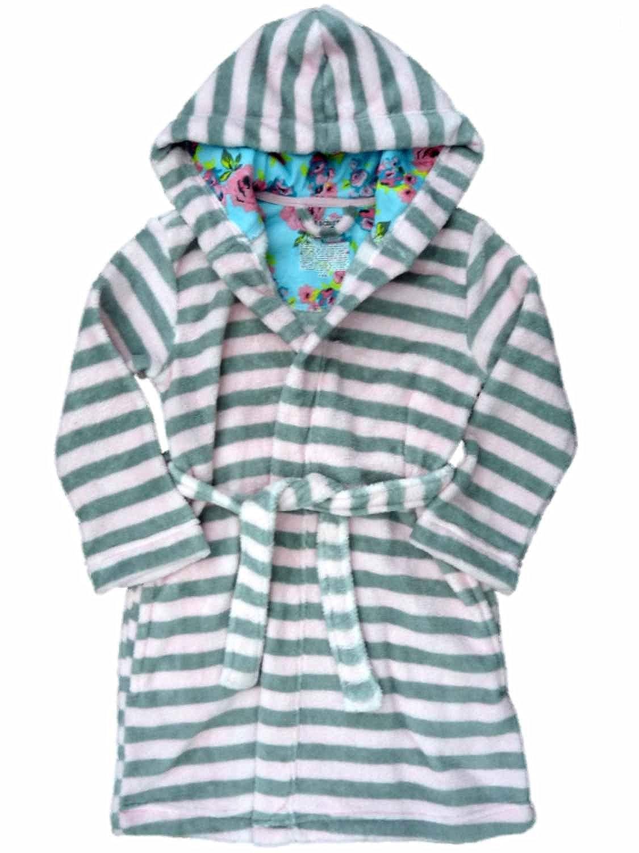 Joe Boxer Girls Plush Pink /& Gray Stripe Hoodie Bath Robe Robe House Coat