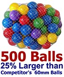 My Balls Pack of 500 Large 2.5'' 65mm Ball Pit Balls in 5 Bright Colors - Crush-Proof Air-Filled; Phthalate Free; BPA Free; Non-Toxic; Non-PVC; Non-Recycled Plastic