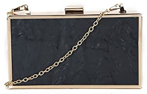 Kukubird Marble Texture Metal Frame Prom Party Clutch Bag Purse Wallet - Black