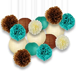 Just Artifacts Decorative Paper Party Pack (15pcs) Paper Lanterns and Pom Pom Balls - Ivory/Teal/Browns - Paper Lanterns and Décor for Birthday Parties, Baby Showers, Weddings and Life Celebrations!