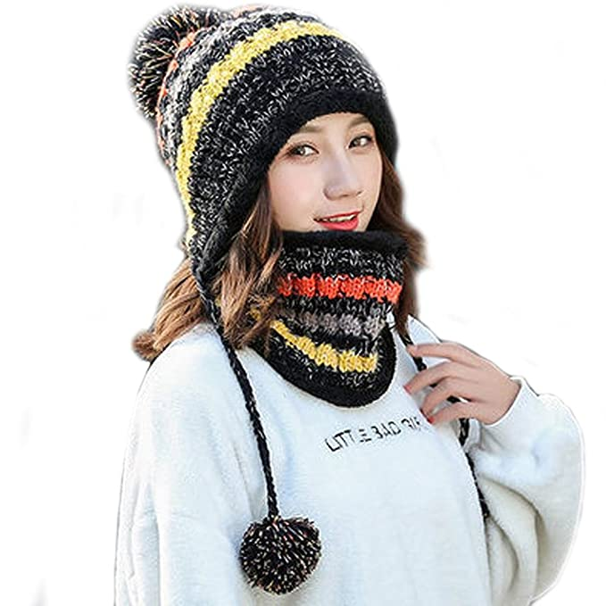 fcf173fb121 Fleece Lined Women Knit Beanie Scarf Set Girls Winter Ski Hat with Earflap  Pompom (Black