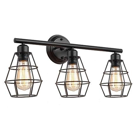 JZCDR Lámpara de Pared de Pasillo Industrial Retro 3x E27 Lámpara ...